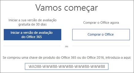 """Mostra o ecrã """"Vamos começar"""" que indica que uma versão de avaliação do Office 365 está incluída neste dispositivo"""