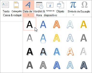 Escolher um estilo de WordArt no separador Inserir