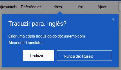 Um pedido na Word na Web a perguntar se quer criar uma cópia traduzida do documento.