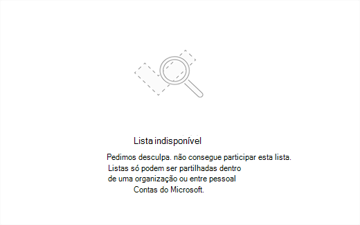 Captura de ecrã a mostrar a mensagem de erro lista indisponível