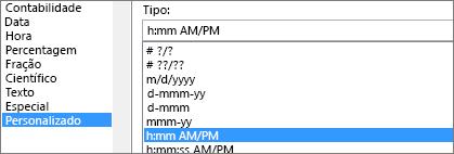 Caixa de diálogo de células de formato, comando personalizado, h:mm AM/PM tipo