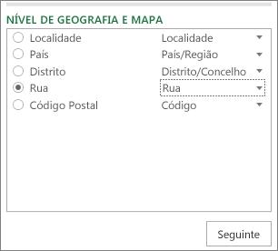 Nível de Geografia e de Mapa no painel Tarefa