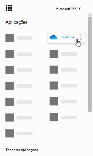 O iniciador de aplicações do Office 365 com a aplicação OneDrive realçada