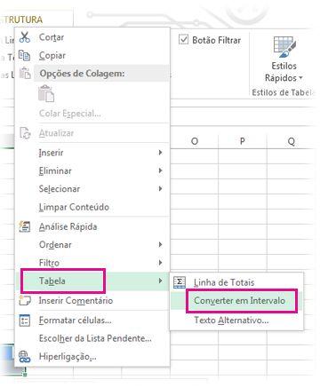 Opção Tabela do menu apresentado depois de clicar com o botão direito do rato