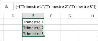 Uma constante de matriz vertical que utiliza texto