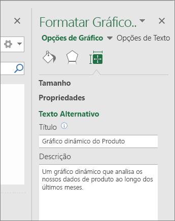 Captura de ecrã a mostrar a área Texto Alternativo do painel Formatar Área do Gráfico com uma descrição do gráfico dinâmico selecionado