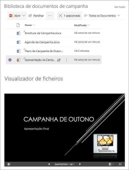 Exemplo de uma peça Web Visualizador de ficheiros ligada a uma biblioteca de documentos