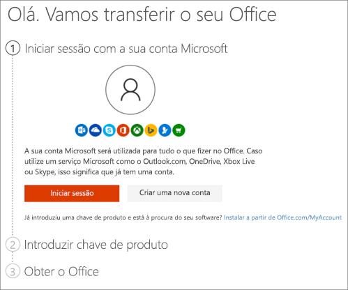 Mostra a página setup.office.com, onde irá resgatar a sua chave de produto