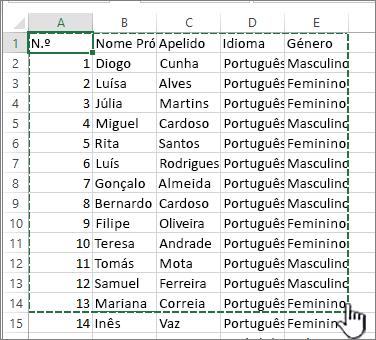 Folha de cálculo do Excel com intervalo realçado