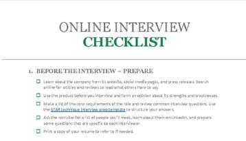 Lista de verificação para entrevistas online