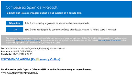 Uma captura de ecrã de um e-mail de Spam combatentes