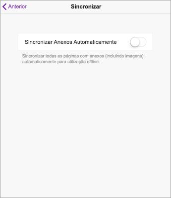Desative a sincronização automática nas definições do OneNote no iPad.