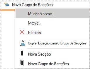 Caixa de diálogo Mudar o nome de um grupo de secções no OneNote para Windows