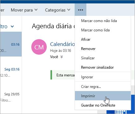Uma captura de ecrã do menu Mais ações com o cursor sobre o botão Imprimir