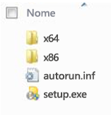 Estrutura de pastas do seletor de plataformas para a instalação do Office 2010 de 64 bits.