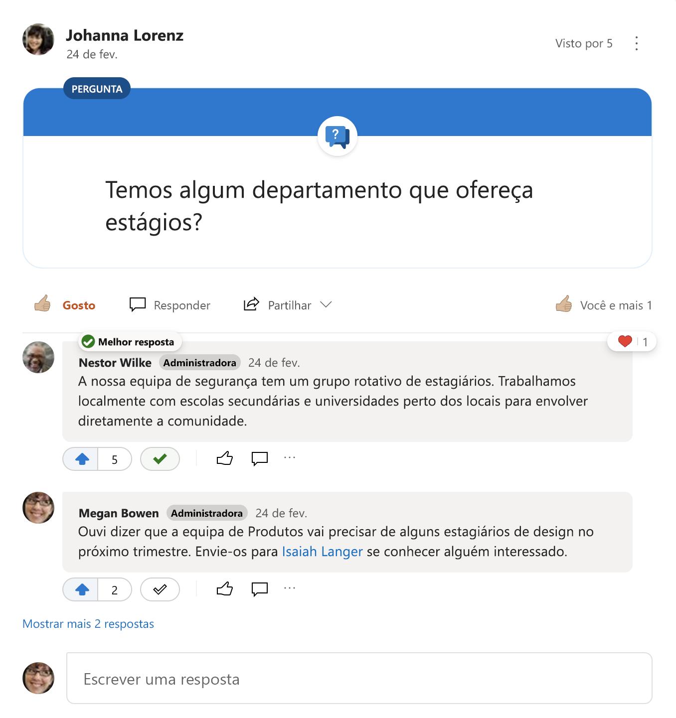 Melhor resposta a uma pergunta do Yammer