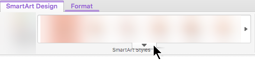 Clique na seta a apontar para baixo para ver mais opções de estilo de gráfico SmartArt