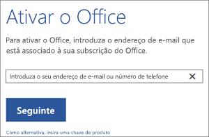 Mostra a caixa de diálogo Ativar, onde pode iniciar sessão para ativar o Office