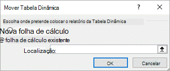 Deslocar-se a caixa de diálogo de tabela dinâmica