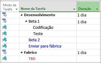 Imagem de uma estrutura hierárquica de lista de tarefas importada do Microsoft Word