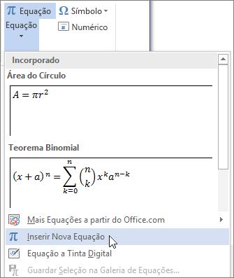 O menu Equação