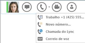 Captura de ecrã da opção efetuar uma chamada