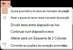 O menu de opções de ajuste automático