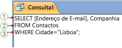 Separador do objeto SQL com a instrução SELECT