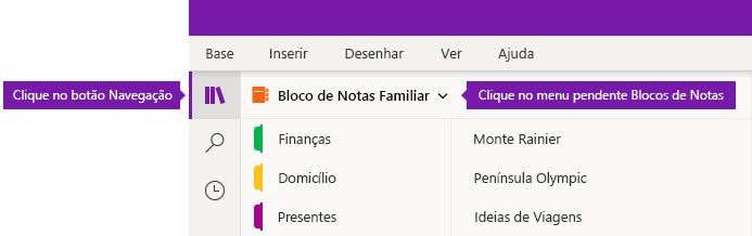 Expandir a lista de Blocos de Notas no OneNote para Windows 10