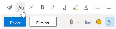 Captura de ecrã com a opção do tamanho do Tipo de Letra na barra de ferramentas da formatação.