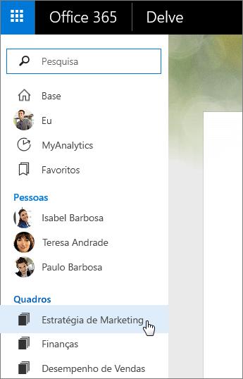 Captura de ecrã da lista Quadros no painel esquerdo do Delve.