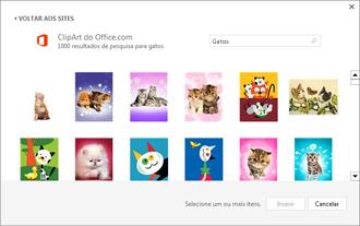 Exemplo de imagens de gatos no site de ClipArt