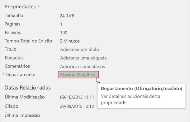 Botão Mostrar Detalhes na área de Propriedades do separador Informações