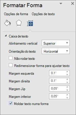 Formatar forma apresentando as definições de margem