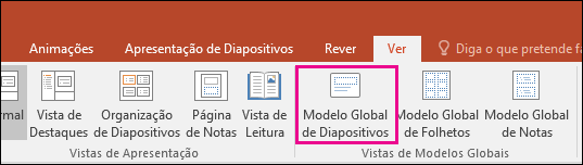 mostra o botão Modelo global de diapositivos no friso no PowerPoint