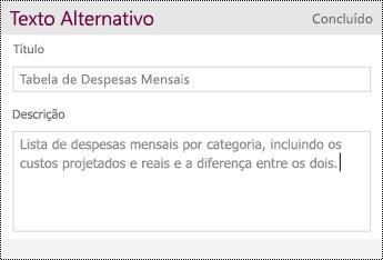 Adicionar Texto Alternativo a uma tabela.