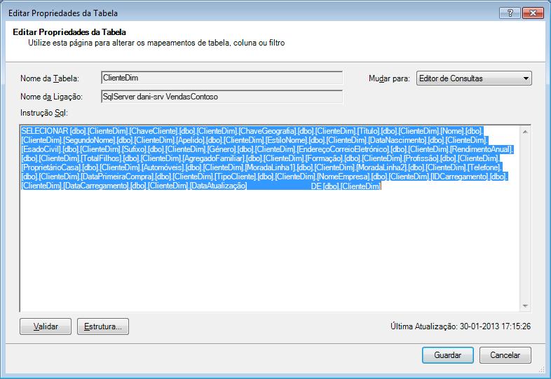 Consulta SQL utilizada para obter os dados