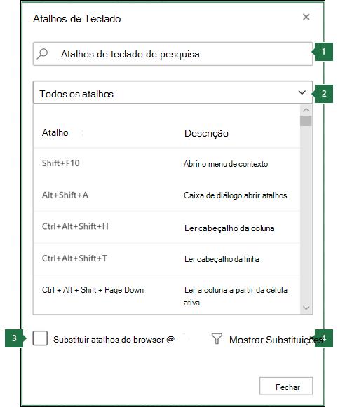 Caixa de diálogo Atalhos de teclado