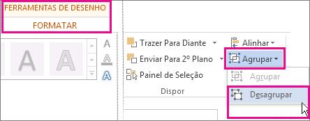 opção desagrupar no separador ferramentas de imagem formatar