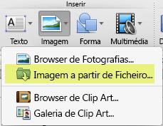 No separador Base do friso, em Inserir, clique em Imagem > Imagem de Ficheiro.