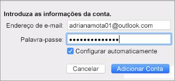 Adicionar uma conta de e-mail