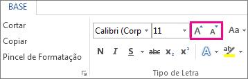 Caixa Aumentar e Diminuir Tamanho do Tipo de letra no separador Base