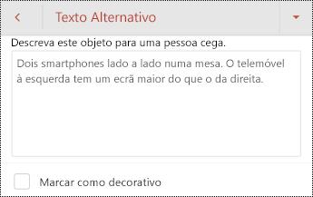 Caixa de diálogo texto alternativo para uma imagem no PowerPoint para Android.