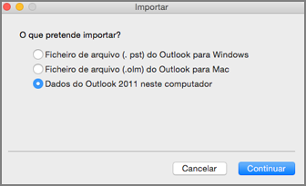 Ecrã Importar com dados do Outlook 2011 selecionados neste computador