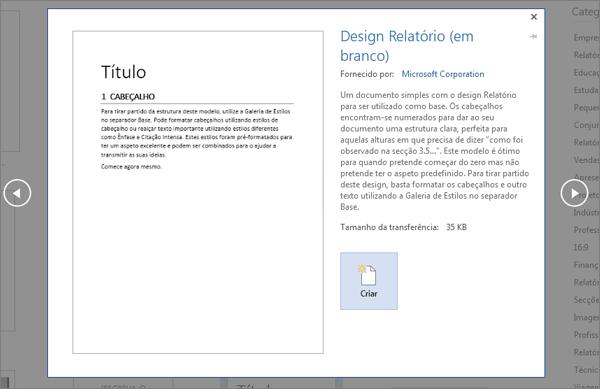 Mostra a pré-visualização de um modelo com estrutura de Relatório no Word 2016.