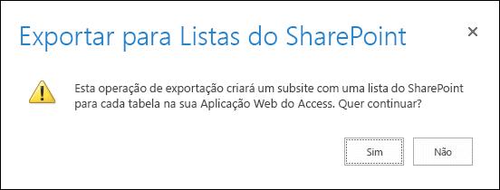 Captura de ecrã a mostrar a caixa de diálogo de confirmação. Ao clicar em Sim, exporta os dados para listas do SharePoint e, ao clicar em Não, cancela a exportação.