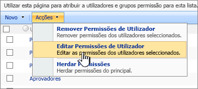 Editar permissioinas do utilizador do menu Action
