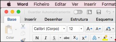 A faixa de vistas no Word para Mac no tema clássico