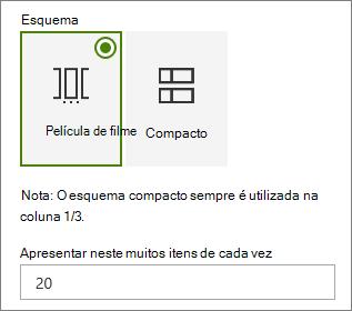 Seleção de esquema no painel de propriedades da peça Web Eventos.