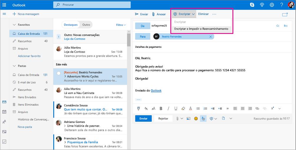 Painel de leitura do Outlook com as opções de encriptação realçadas